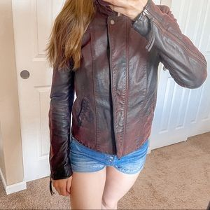 Free People Cool & Clean Leather Moto Jacket 10
